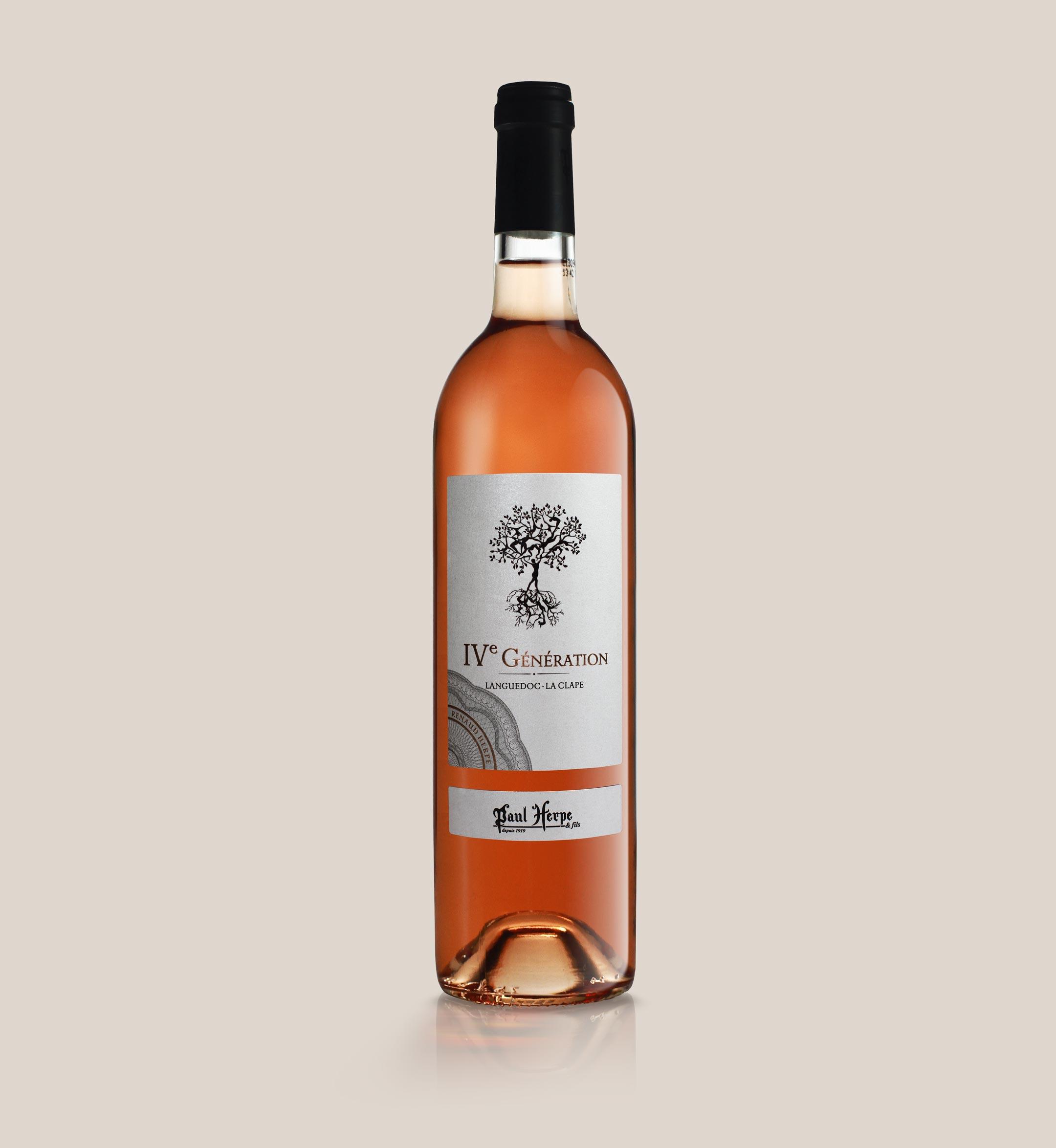 Cuvee IV generation Paul Herpe AOC Clape - bouteille vin rosé collection premium
