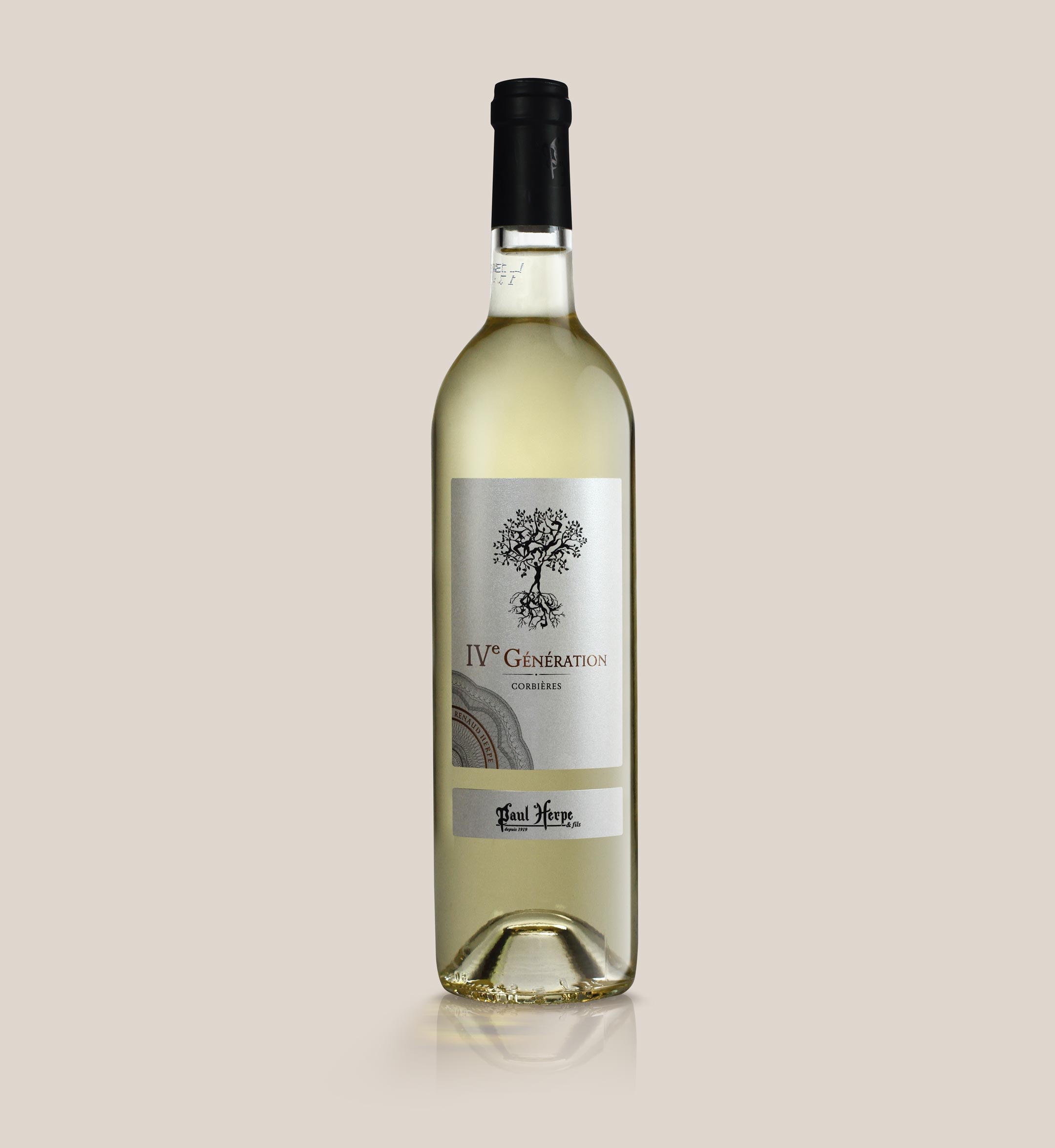 Cuvée IV generation Paul Herpe AOC Corbieres - bouteille de vin blanc Collection Premium