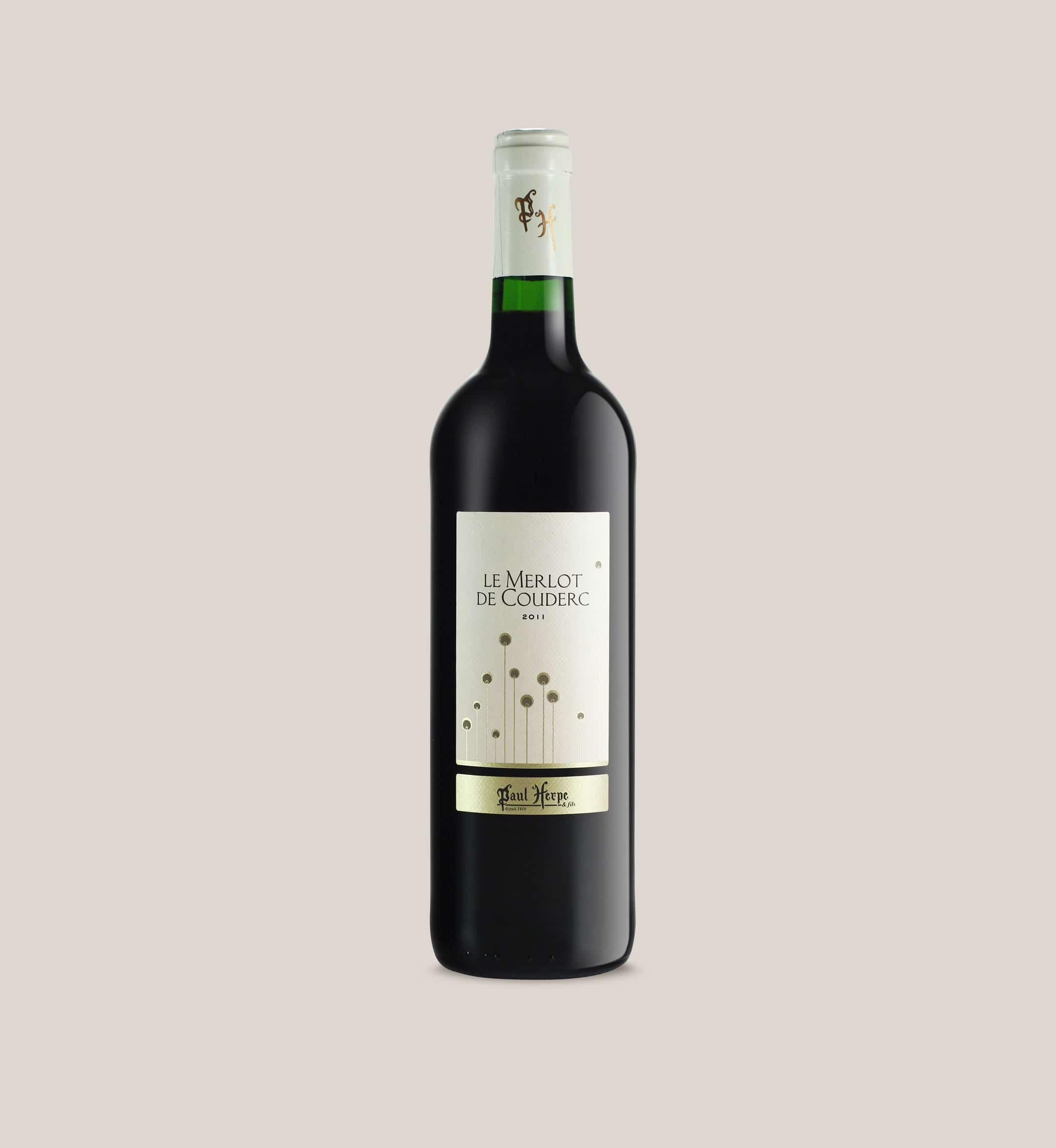 Merlot de couderc vin rouge de pays d'Oc bouteille Paul-Herpe