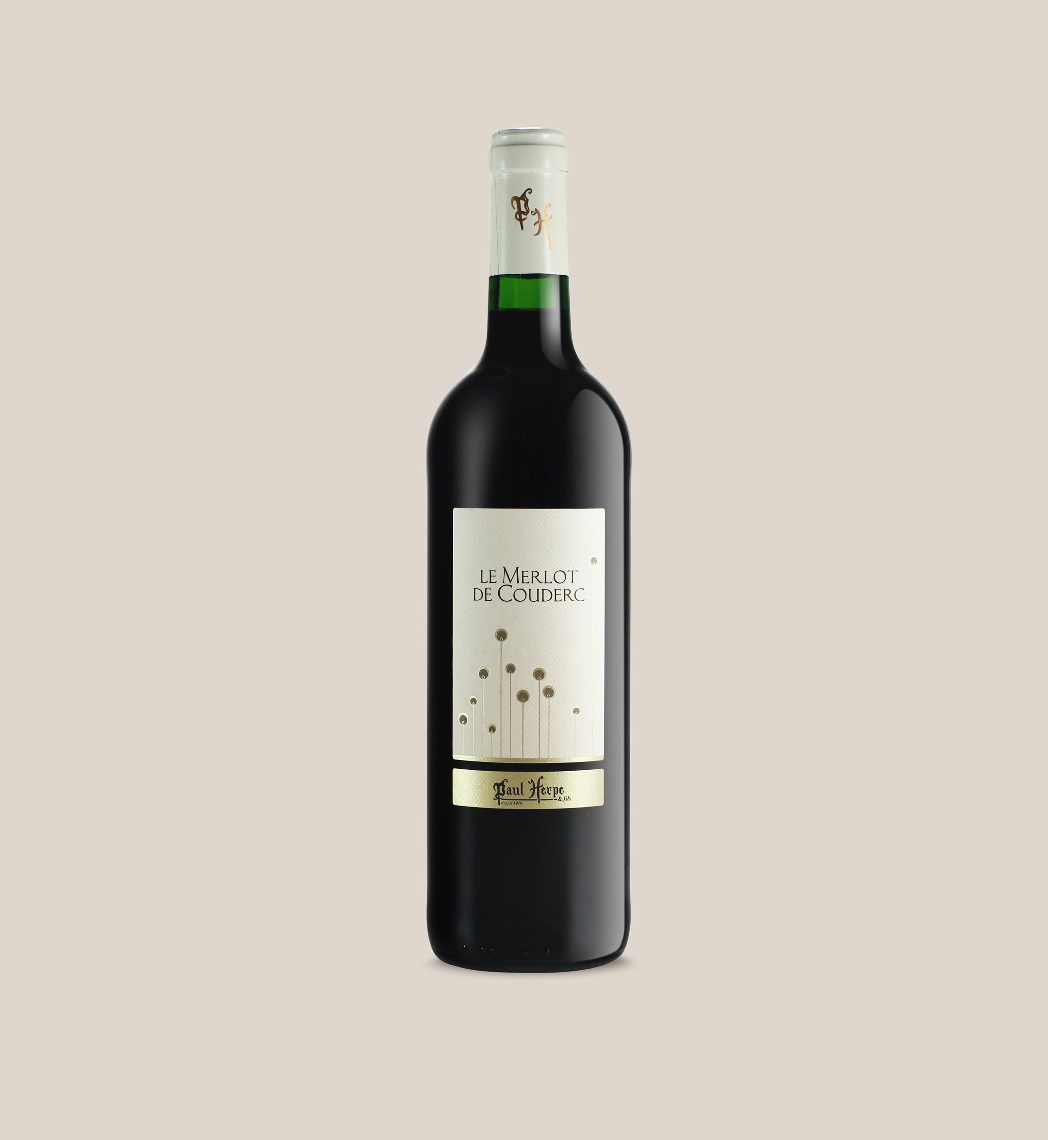 Merlot de Couderc vin rouge de pays d'oc - bouteille Paul Herpe